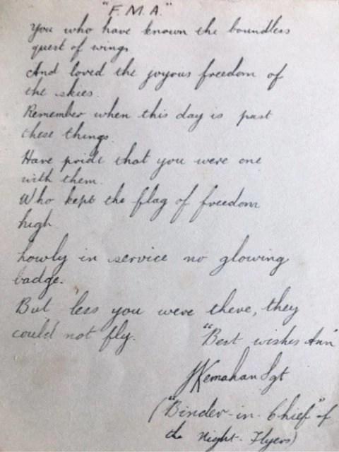 Handwritten poem by Sergeant Kemahan at RAF Little Rissington. Circa 1945.