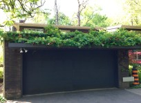 garage with amazing green roof vining