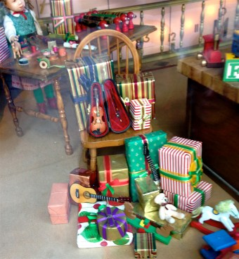 Tiny musical instruments in Hudson's Bay Christmas window