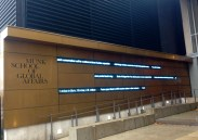 Contemporary idea: international news headline ticker at Munk School entrance, U of T (on Devonshire). This installation has its fans... and detractors.