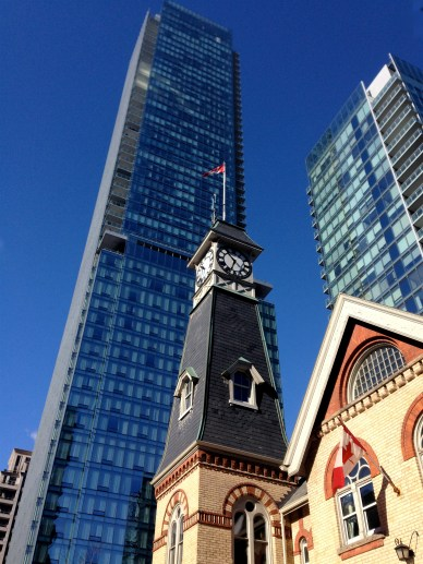 The old Yorkville Fire Station, amidst neighbouring towers