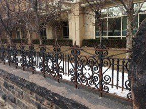 Lovely wrought-iron fence around the Rekai Centre on Wellesley East
