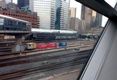 An UP (Union to Pearson) train in the station.