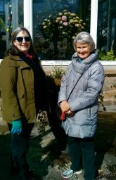 Sharon's photo of Sally and me as we arrive at Allan Gardens
