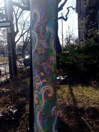 Beautiful painted telephone pole