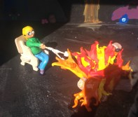 ... and it contains a delightful camping trip, fire and all, created by the students.