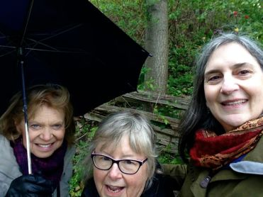 Julie, Marion, Lori - trying to stay out of the rain. And hail. And rain. And hail! A great morning!