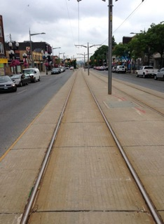 Looking west. Far west! Towards another walk, perhaps. From the raised streetcar track, the drop-off of St Clair towards Keele is surprising.