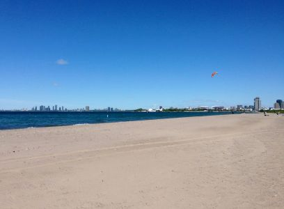 Hanlan's Point beach and a city view with kite-surfers