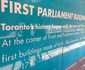 Construction site hoardings remind us of the origins of Parliament Street's name. Logical, of course, but... who knew?