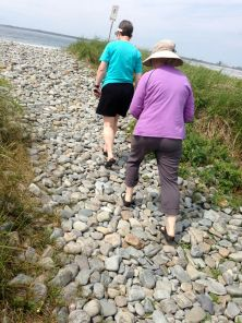 Janet & Jennifer hiking in to Cherry Hill Beach, one of my favourite places in Canada.