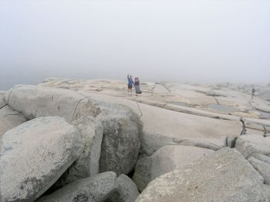 Jennifer & Janet at Peggy's Cove on a beautiful, slightly foggy day