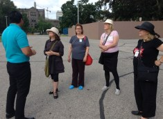Eric tells of visits by Queens, and Ontario's several early parliament buildings. Skylar, Mary, Denise and Elizabeth see some of the statues on the grounds.