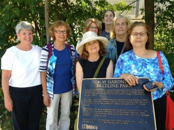 Sharon, Barbara, Skylar, Jan, Lori, Denise, Mary... all enjoyed Kay Gardner Beltline Park. Honorary mention to Heather, who joined us for a little walk to Lansdowne, where we caught our bus north, in the morning! ;-)