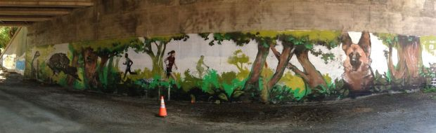 Facing murals in the trail's underpass depict modern use...