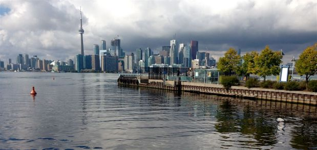 """Panorama view of the city and the Centre Island dock. Notice the sky is getting a little """"interesting"""" again? Beautiful!"""