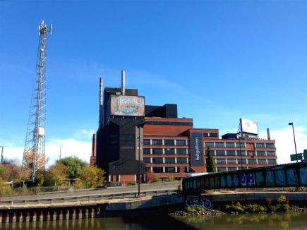 Former Lever Bros. building (with industrial mural of soap-making?), across the Don. It now awaits redevelopment.