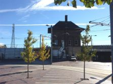 Railway building at the new ginkgo-filled Cherry Street/Distillery streetcar loop.