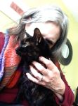 You recognize the shawl, of course. I couldn't resist a hug with Ms. Zagers. She tolerates my affections. :-)