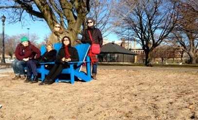 Quick timer shot with Muskoka chairs on the beach: L, Jan, Elizabeth, Anna, Veronika