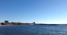 Looking east from Sunnyside Beach. See the turbine?