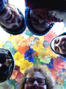 We look down, as camera looks up... at the Chihuly glass sculpture marquee. SoHo Metropolitan Hotel (Denise, Mary, Julie, Barbara, L)