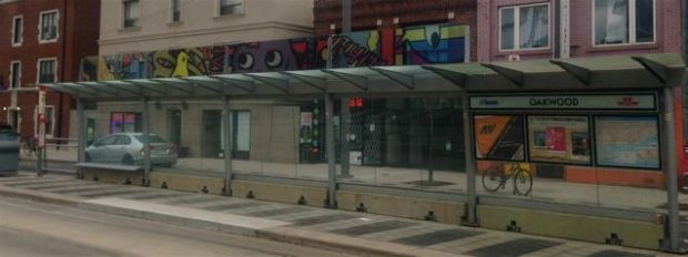 artwork above transit stops on St. Clair West
