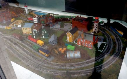 great train set-up in... a dentist's office!
