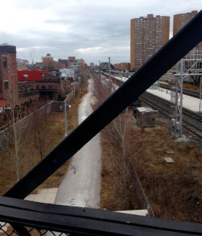 on the pedestrian bridge, looking south along RailPath