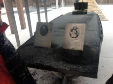The east end of the park is home to a Simcoe memorial installation: a steel canopy (to represent a tent where the Simcoes first stayed), a steel ribbed boat frame and a table with a map of the area and engravings about the Simcoes and their life in Upper Canada. And one of Elizabeth's artworks.