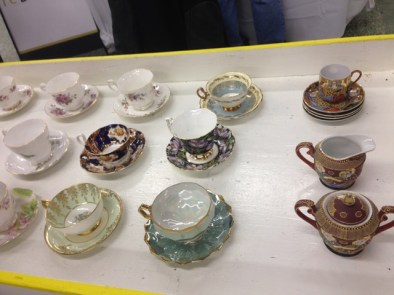 Furniture Bank fundraiser teacups, from their huge collection. Good idea!