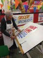 The first, and one of the last of the great sign painters! at Honest Ed's, Mr. Douglas Kerr. A charmer!