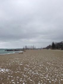 a light dusting of snow on the beach (So far!)