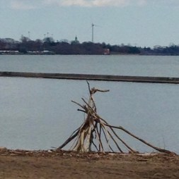beach driftwood structures - and the still turbine