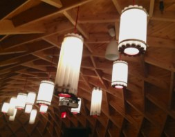 Native Child & Family Services bldg - cool longhouse light fixtures