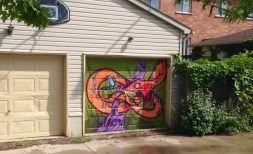 new lane garage door murals (all about pollinators) Garrison Creek Park laneway - this one, by Cruz1