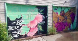 new lane garage door murals (all about pollinators) Garrison Creek Park laneway - more work in progress by Christina Mazzulla and Jeff Blackburn