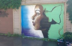 new lane garage door murals (all about pollinators) Garrison Creek Park laneway - young artist from Ottawa... who didn't want to share his name (very pretty portrait) - however, Nick's instagram tells that he is Kalkidan Assefa (drippin soul)