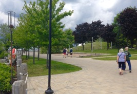 Jan, Skylar, Rosalyn, Inga and Donna - walking into old Ontario Place grounds.
