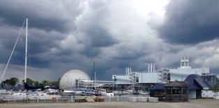 Ah! 'Tis Cinesphere in the west, and the old Trillium pods. Ontario Place maybe soon to be renovated? Who knows? And get a load of that sky!