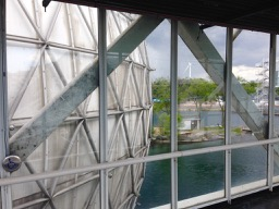 from inside the Ontario Place bridge, to Cinesphere beside it and turbine in the bkgd