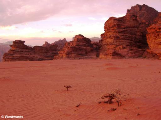 dunes and cliffs in Wadi Rum
