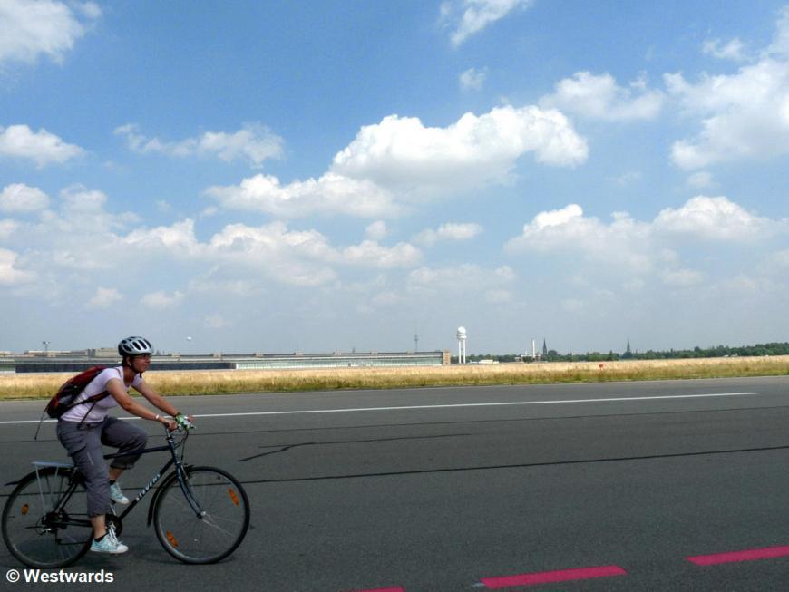 Natascha biking on the former area of Tempelhof Airport