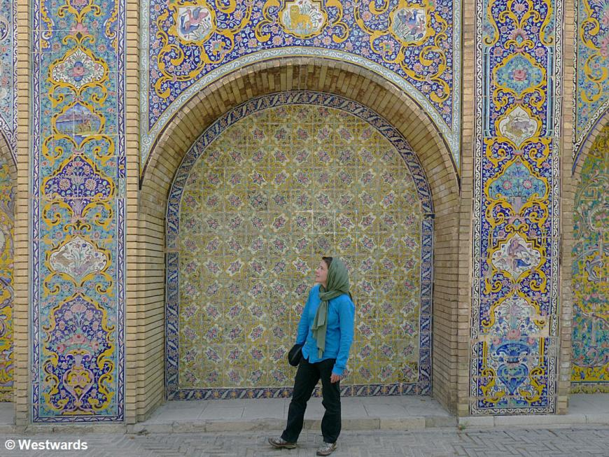 Isa with headscarf in Golestan Palace, Tehran