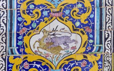 Persian Tiger & Antelope tile in Golestan Palace