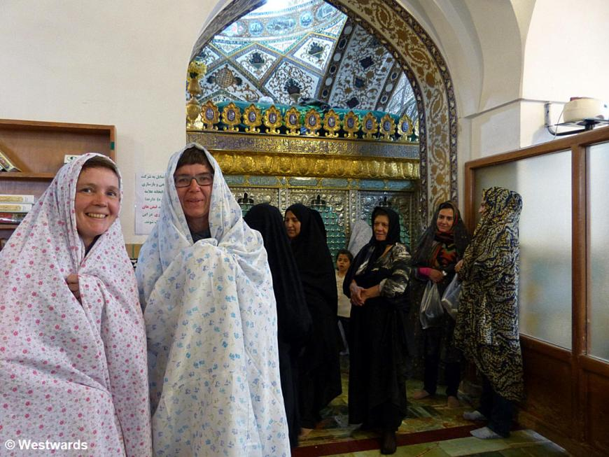 Natascha and Isa in a shrine in Isfahan