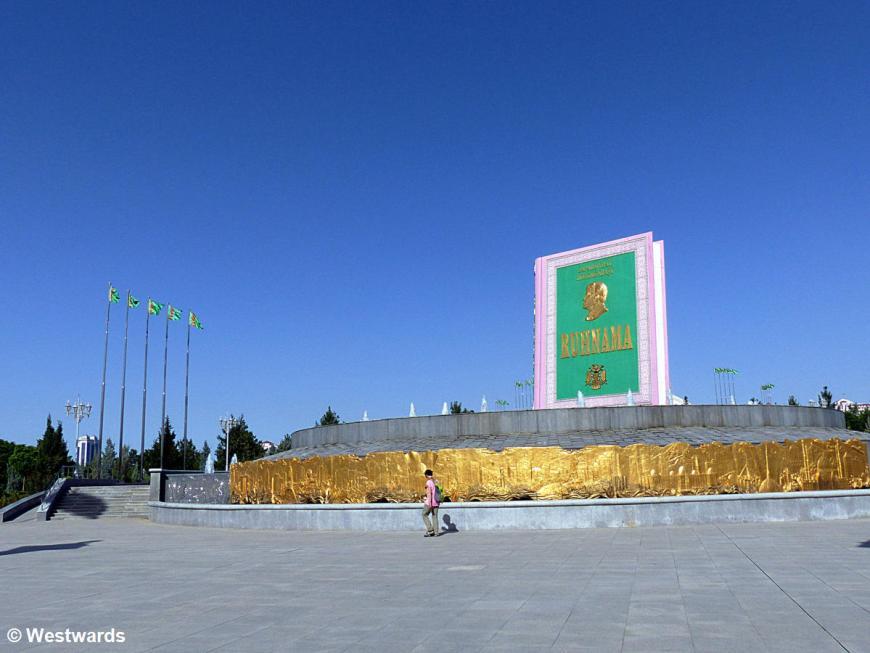 Ruhnama memorial in Ashgabat