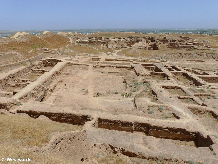 view over the archaeological site of Old and New Nisa