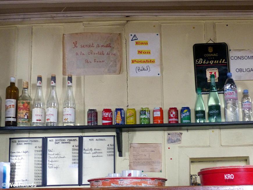 Shelves & French signs in the Refuge de Col de Balme