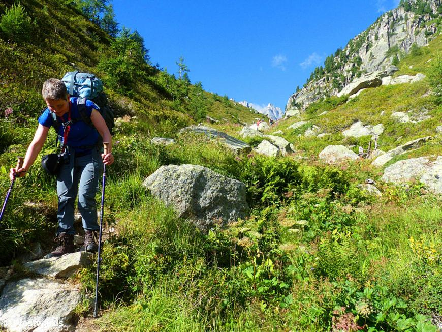 woman hiking in the Swiss alps
